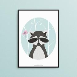 Plakat - Zwierzęta Leśne - Szop Pracz - czarna ramka