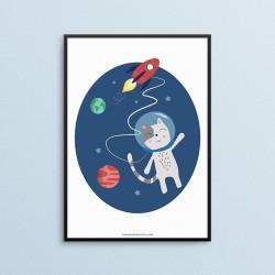 Plakat dla dzieci - Kosmos - Kot - czarna ramka