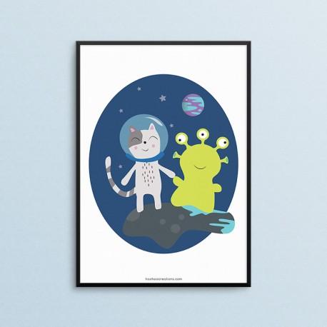 Plakat dla dzieci - Kosmos - Ufoludek - czarna ramka