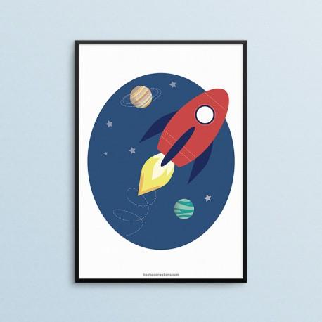 Plakat dla dzieci - Kosmos - Rakieta - czarna ramka