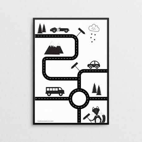 Plakat dla dzieci - Auta - Droga - czarna ramka