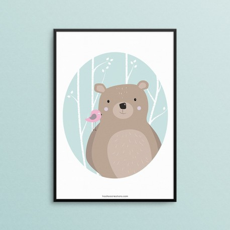 Plakat - Zwierzęta Leśne - Niedźwiedź - czarna ramka
